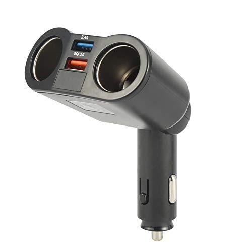 ROSEBEAR Cargador de Coche Dual USB con Indicador de Voltaje del Encendedor de Cigarrillos Qc3. 0 Cargador Rápido 2 Enchufes para Calefactor de Asiento Enfriador
