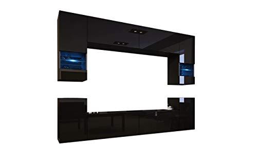 HomeDirectLTD Future 27 Moderne Wohnwand, Exklusive Mediamöbel, TV-Schrank, Schrankwand, TV-Element Anbauwand, Neue Garnitur, Große Farbauswahl (RGB LED-Beleuchtung Verfügbar) (27_HG_B_1, Weiß LED)