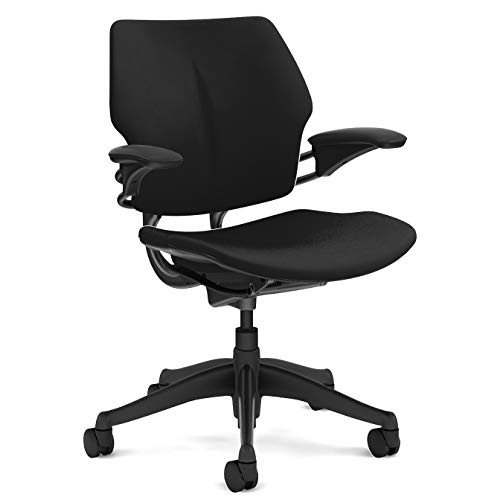Humanscale Freedom Task Chair | Fourtis Black Seat and Back | Graphite Frame | Height-Adjustable Duron Arms | Standard Foam Seat, Hard Carpet Casters, and 5' Cylinder