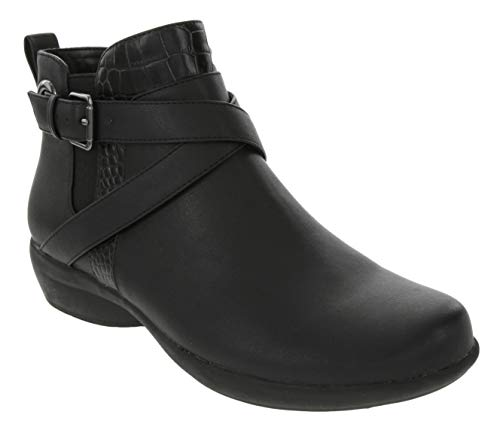 LONDON FOG Womens Vance Ankle Boot with Buckle Wraparounds, Stretch Gore, O Ring and Croco Skin, Bootie with Side Zip Closure Black 9.5