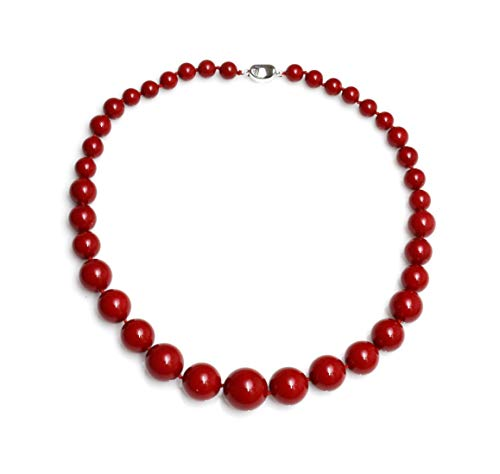 Schmuckwilly Muschelkernperlen Perlenkette Perlen Collier - Muschelkernperlenkette Halskette rot Hochwertige Damen Perlenkette aus echter Muschel 45cm 8mm-16mm mk16mm066-45