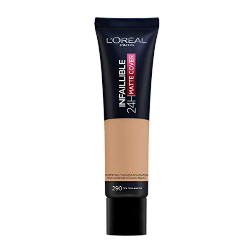 L Oréal Paris MakeUp Infaillible 24H Mat Cover, Fondotinta Coprente, Finish Matte, Formula a Lunga Durata, 290 Ambre Doré, 30 ml, Confezione da 1