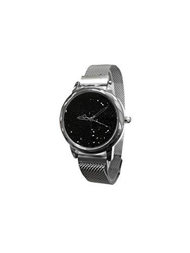 Reloj para Mujer de Cuarzo con Correa de Malla diseño Brillo | Idea de Regalo | Colección Bright Steel Plata/Negro