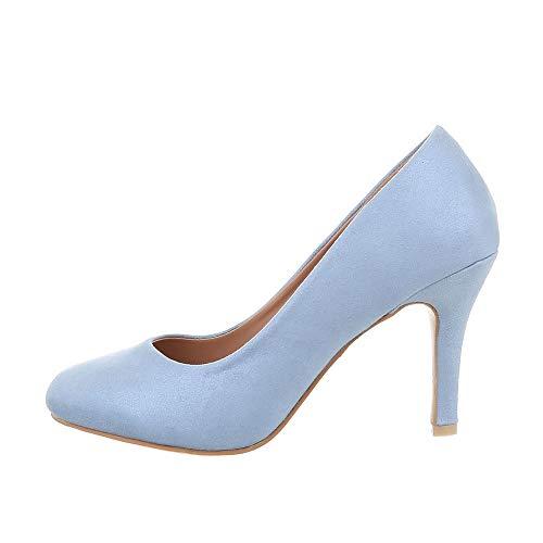 Ital-Design Damenschuhe Pumps High Heel Pumps Synthetik Hellblau Gr. 39