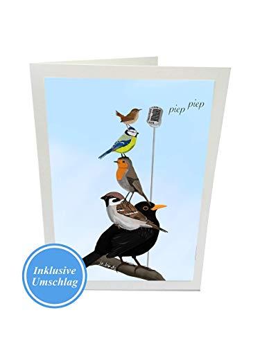 Geburtstagskarte The Backyard Birds Zeichnung inklusive Umschlag