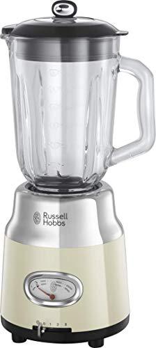 Russell Hobbs Glas-Standmixer Retro creme, Retro-Anzeige,20.000 U/min,1.1 PS-Motor, Impulse-/Ice-Crush-Funktion, 1.5l Glasbehälter, Edelstahl, Mixer,elektrischer Zerkleinerer,Smoothie-Maker 25192-56