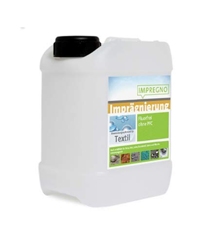 IMPREGNO Líquido de impermeabilización Textil, 5 litros, una protección y Cuidado sin flúor y respetuosa con el Medio Ambiente