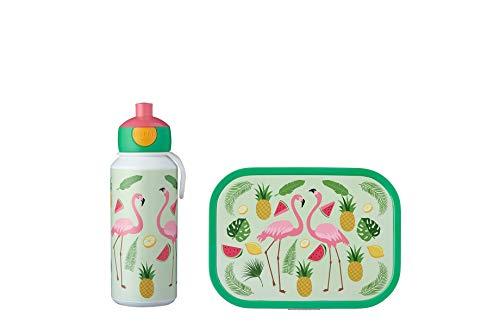 Mepal Pausenset Campus Tropical Flamingo – Trinkflasche und Brotdose mit Bento-Einsatz – ideal für Schule und Freizeit – spülmaschinenfest, ABS, 0 mm, 2