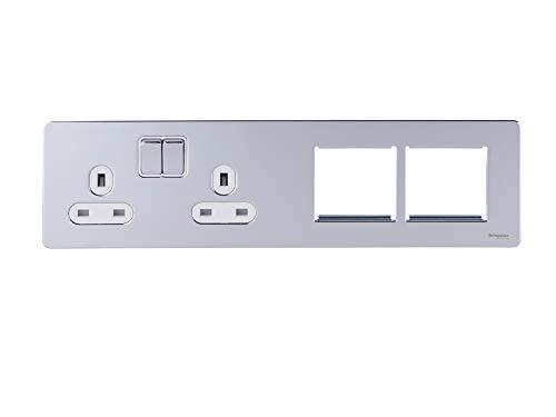 Schneider Electric GU34202DMPWPC platte plaat, zonder schroeven, 2 x 2P + E met rolluiken, wit
