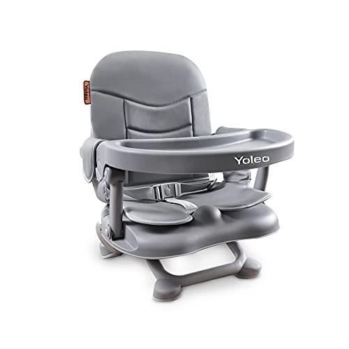 YOLEO Hochstuhl für Baby Faltbarer Sitzerhöhung Abnehmbarer Tisch Verstellbar zum Füttern Outdoor und Zu Hause Aktivitäten Mitwachsen mit Kind Babystuhl (Grau)