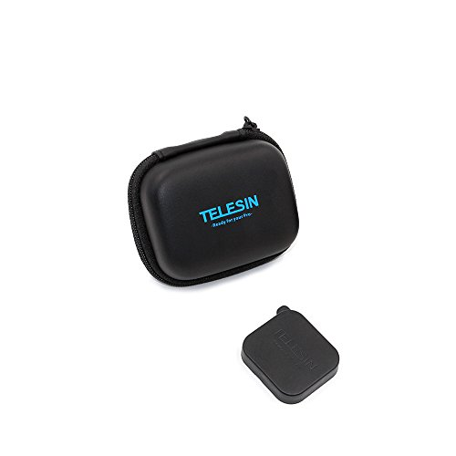 TELESIN Compact PU Leather Mini Bag Carry Case for Action Cameras with Lens Cover - Black
