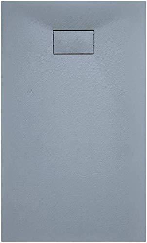 Piatto Doccia Spessore 2.6 Cm In Resina SMC Effetto Pietra Stone Ardesia Antiscivolo Riducibile Indistruttibile Filopavimento Arredo Bagno Con Griglia Di Copertura Colore Grigio (80 x 90 cm)