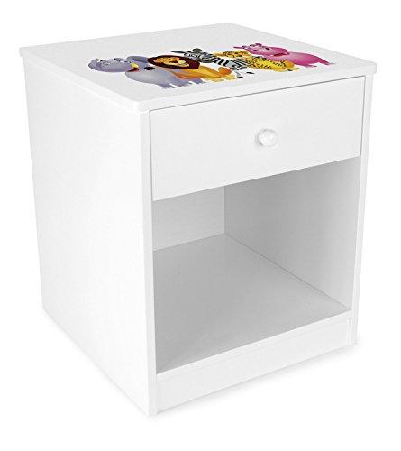 Leomark comodino classico per cameretta con cassetto e scompartimento apertoin, cassettiera per bambini in legno, colore bianco con motivo ANIMALI ZOO GIUNGLA, dimensioni: 34,5 x 34,5 x 40,5cm (LxPxA)