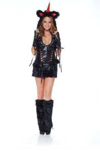 Sexy Kostüm EINHORN SCHWARZ Gr. S/M