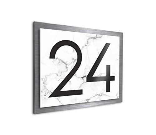 Premium designer huisnummer met uv-druk en montage-set, familie-huis, bedrukte huisnummers met straatnamen voor de huisdeur tussen klein L en groot XXL