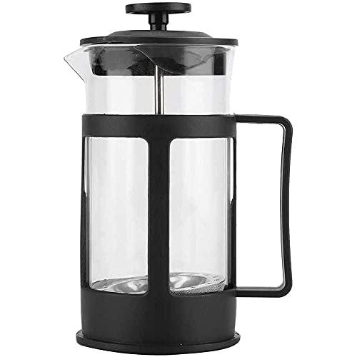 YukeShop - Caffettiera multifunzione in acciaio inox trasparente con manico per casa, ufficio, 350 ml, colore: Nero