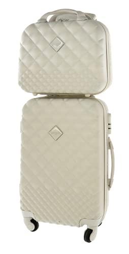 CAMOMILLA MILANO Set Valigeria, Set di Valigie, Trolley da Viaggio (40 lt.) + Vanity Case (15 lt.), Materiale Rigido, Ruote Pivotanti, Chiusura Zip con combinazione, Colore Bianco Gesso