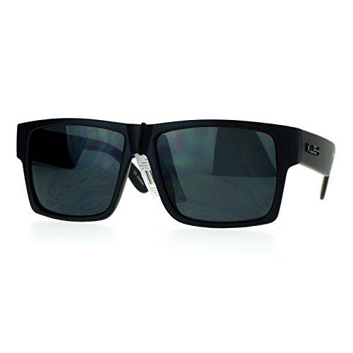 Kush Gangster Rectangular Squared All Black Horn Rim Sunglasses Matte Black