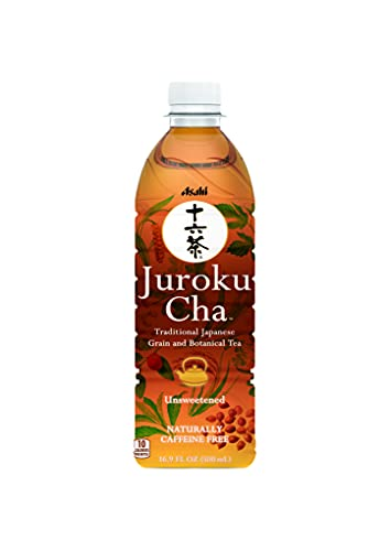 Juroku-Cha Unsweetened Caffeine Free All-Natural Grain and Botanical Tea. Gluten Free, Sugar Free, Zero Calorie. No Artificial Flavorings, Colors, or Sweeteners. 16.9 FL oz. (Pack of 12)