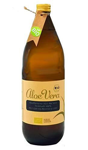 Aloe Vera Premium BIO Direktsaft, handgeschält, 1200 mg Aloverose/Ltr, 1 Liter Glasflasche (1)