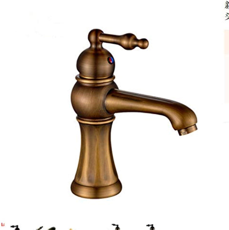 ROKTONG Faucet Retro Black Bronze Faucet Hot And Cold Water Basin Faucet Black Bathroom Wash Basin Faucet, B