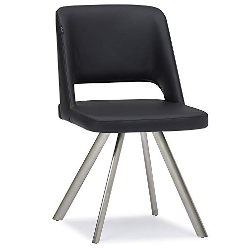 Zuri Juneau Black Leatherette Dining Chair with Brushed Stainless Steel Legs