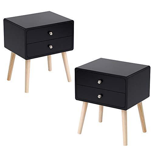 MUPAI Tables de Chevet Lot de 2 avec 2 Tiroirs Scandinave pour Chambre/Salon/Bureau (Noir- Lot de 2, 42x32x50cm)