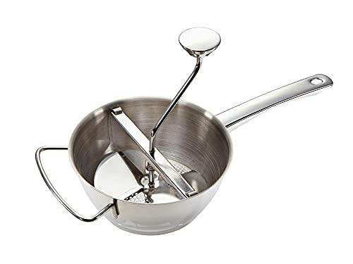Leifheit Passiermühle Ø 20 cm ProLine-Serie inkl. 3 Einsätzen, aus hochwertigem Edelstahl zum Passieren von Obst, Gemüse, Babynahrung, Suppen, spülmaschinengeeignet, Passiersieb, Kartoffelpresse