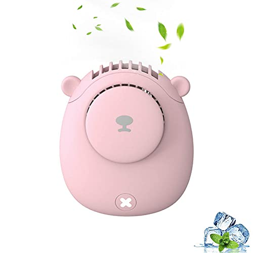 Ventilador de cuello portátil, recargable USB 3 velocidad del viento, forma de oso ultra silencioso, manos libres, mini ventilador con cordón para viajes en interiores y exteriores, color rosa