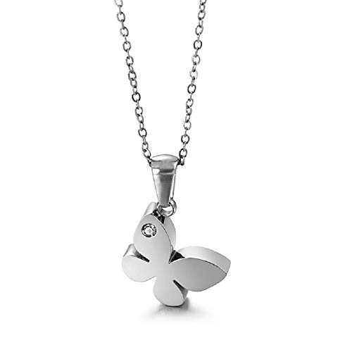 Cora Rogers Silver Butterfly Pendant Adjustable Necklace Stainless Steel Lady Summer Holiday Jewelry Gift