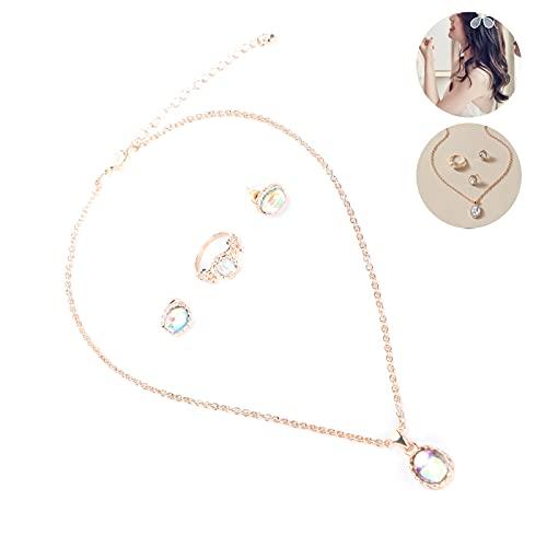 Snufeve6 Conjunto de joyería de Moda, Conjunto de joyería para Mujer Que Tiene un Tiempo de Servicio prolongado, no es fácil de oxidar para Pendientes para Collar
