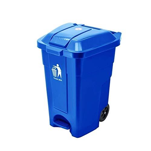 AINIYF Trash auf Rädern, können Außen Sanitation Hotels Trash Can Movable High Capacity Trash Pedal Typ Papierkorb Kunststoff (Color : Blue 50l)