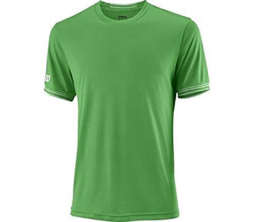 Wilson Herren Tennis-Kurzarmshirt, M Team Solid Crew, Polyester, Grün/Weiß, Größe: S, WRA765303
