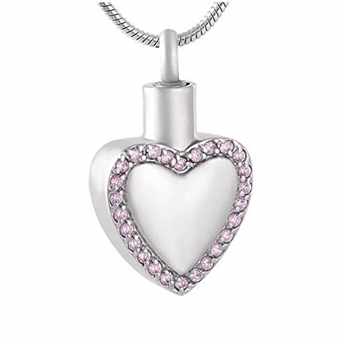 Wxcvz Colgantes Cenizas Collar De Cremación con Incrustaciones De Cristal Accesorios para Cenizas De Mujer Colgante De Recuerdo De Corazón Sostener Cenizas Funerarias
