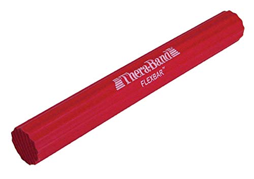 TheraBand FlexBar, Tennis Elbow Therapy Bar, Relieve Tendonitis Pain & Improve Grip Strength, Resistance Bar for Golfers Elbow & Tendinitis, Red, Light, Beginner