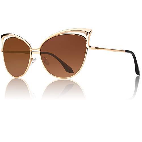 GQUEEN Occhiali da Sole Donna Oversized Montatura in Metallo a Specchio Lenti Polarizzate Occhi di Gatto MT3