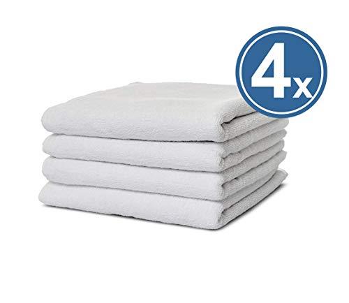 Carenesse Handtuch 4er Set, klassisch Glatte Hotel Serie, 100% Baumwolle, 50 x 100 cm, Weiß, Premium Hotel Qualität, Saugstark & Strapazierfähig, Plain Towel, Hotelwäsche, Hotelfrottier