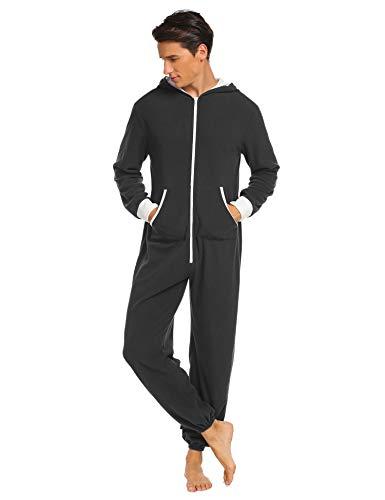 Jumpsuit Herren Schlafoveralls Jogging Anzug mit Kapuze Trainingsanzug Overall Einteiler Schlafanzug Langarm Pyjama mit Kapuze für Männer Schwarz M