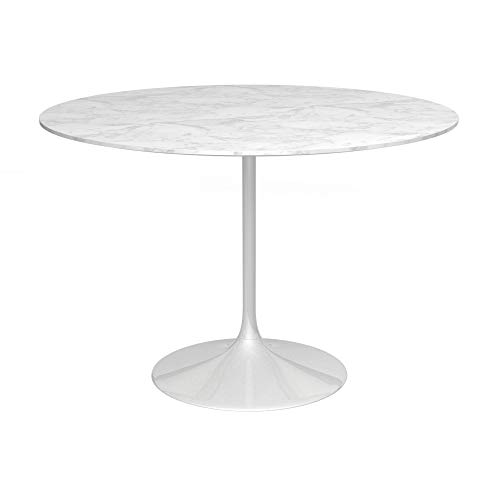 Gillmore Space Socle Grande Table à Manger Blanc Brillant Et Blanc