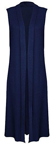 Womens Ladies Sleeveless Maxi Long Length Boyfriend Cardigan Collared Top Long Floaty Duster Jacket Coat Blazer Waistcoat (UK 20-22 XXL (Plus Size), Navy Blue) steampunk buy now online