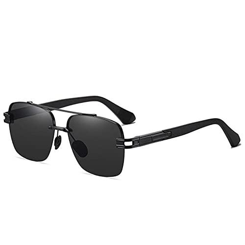 ZKP Gafas de Sol polarizadas de Moda, Gafas de Sol Retro de Moda para Hombres y Mujeres, Gafas polarizadas UV400, con protección contra sombreado y UV (Color : Black Frame Gray Lens)