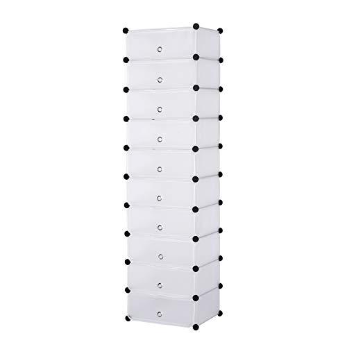 WOLTU Schuhregal SR0052ws DIY Schuhschrank Schuhablage Schuhständer Aufbewahrung Lagerregal Garderobenschrank mit Tür, 10 Fächer, Kunststoff, 47x37x170cm(BxTxH), Weiß