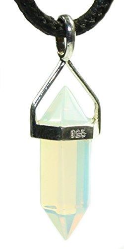 budawi® - Opal (Opalglas) Doppelspitze am Bügel, 925er Sterling Silber, Kettenanhänger Opalglas Spitze