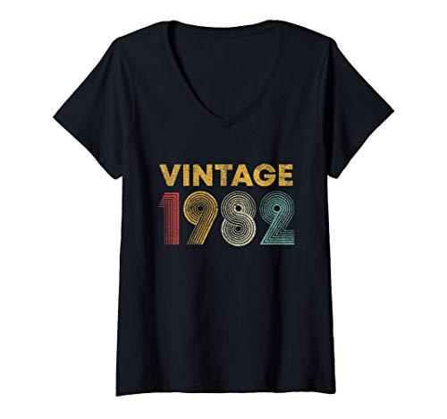Mujer Regalo de 39 Cumpleaños Vintage 1982 39 Años Camiseta Cuello V