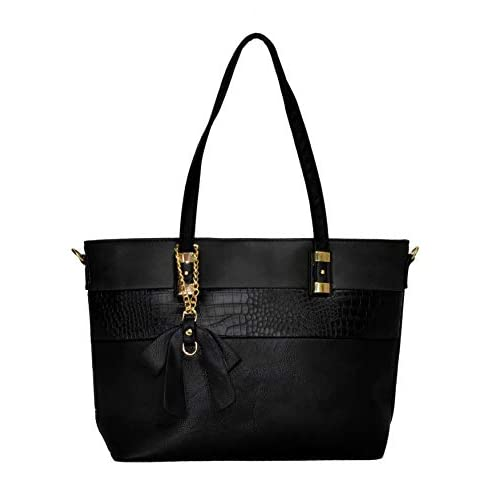 CABONA Borsa da donna tracolla Rimovibile Tote con Pendente. Shopping Bag (Nero)