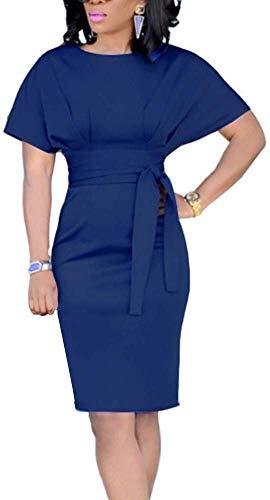 Huaheng Womens Casual potlood jurk riem elegante korte mouw kantoor jurk L Donkerblauw