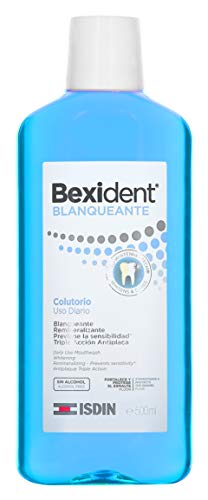 Isdin Bexident Blanqueante Colutorio, Uso Diario, Enjuague Bucal Blanqueante Remineralizante Triple Acción Antiplaca 1 x 500 ml