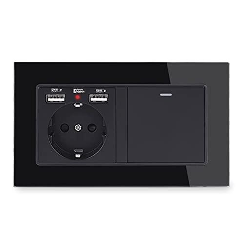YUANJING-Interruptor de pared con 2 puertos de carga USB + 1 banda de 3 vías interruptor de luz intermedio de encendido/apagado panel de cristal (voltaje clasificado: 110-250 V, tipo: negro)