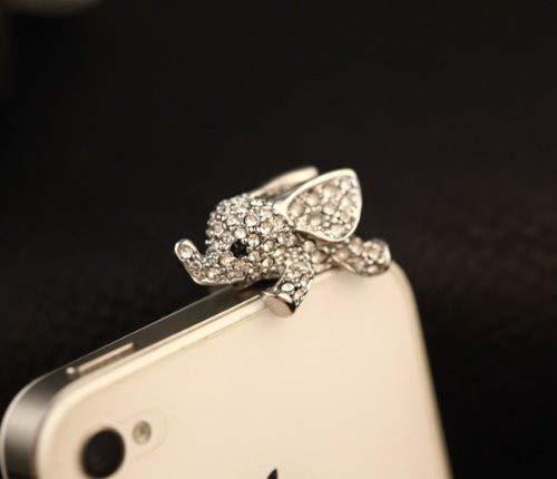 RRunzfon Staubschutzstecker aus Elefant Kristall in Gold Silber 3,5 mm für iPhone 5 5S 6 7 Plus Samsung S5 S6 S7 Zubehör für Handys Jack Plug