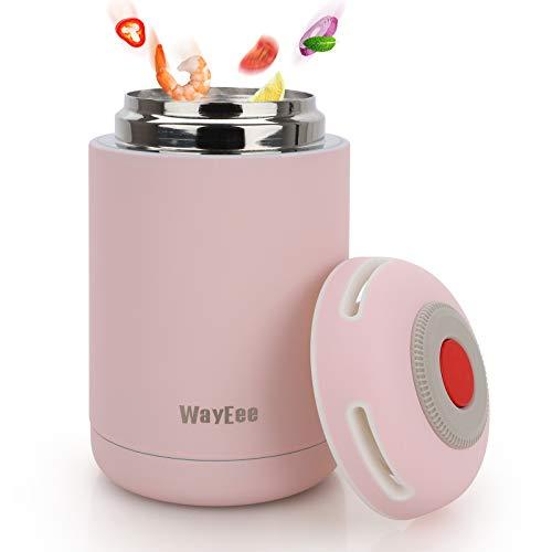 WayEee Termo para Comida 460ml para Niños Escuela Botella Aislada de Acero Inoxidable para Alimentos Calientes y Bebidas Frías, Termo para Sólido y Líquido(Rosa)